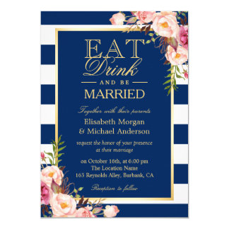 EAT Drink and Be Married Navy Blue Stripes Wedding 13 Cm X 18 Cm Invitation Card