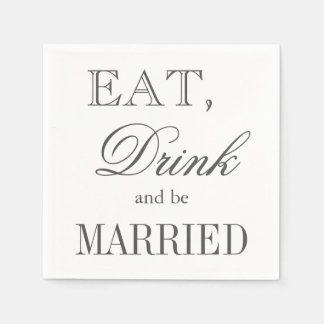 Eat drink and be married paper wedding napkins disposable serviette