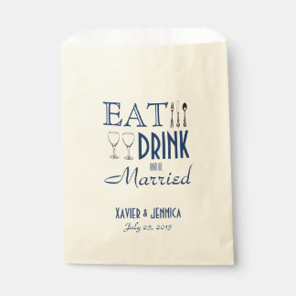 Eat Drink and be Married Personalised Silverware Favour Bag