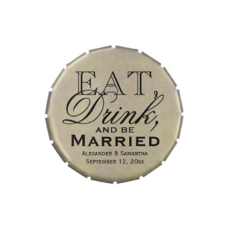 Eat, Drink, and Be Married Personalized Wedding Candy Tin