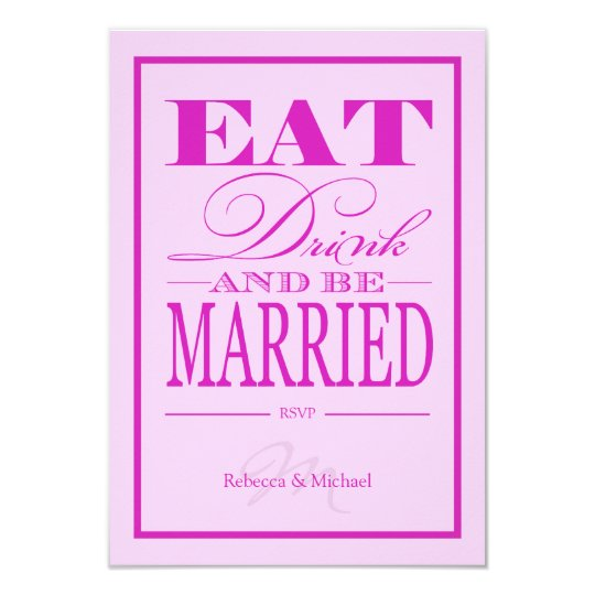 Eat Drink and be Married - Pink & Purple RSVP Card