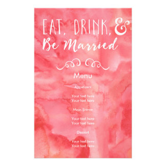 Eat, Drink, and Be Married Pink Watercolor Wedding 14 Cm X 21.5 Cm Flyer