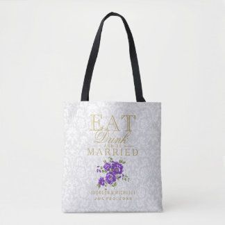 Eat, Drink and be Married  Purple Flowers on White Tote Bag
