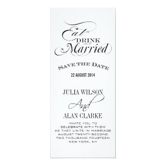 Eat, Drink and Be Married Save the Date Cards 10 Cm X 24 Cm Invitation Card