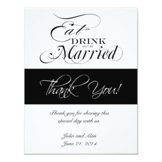 Eat, Drink, and Be Married Thank You Cards 11 Cm X 14 Cm Invitation Card