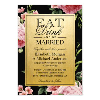 EAT Drink and Be Married Vintage Floral Gold 13 Cm X 18 Cm Invitation Card