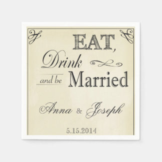 Eat Drink and be married vintage napkins Disposable Serviettes