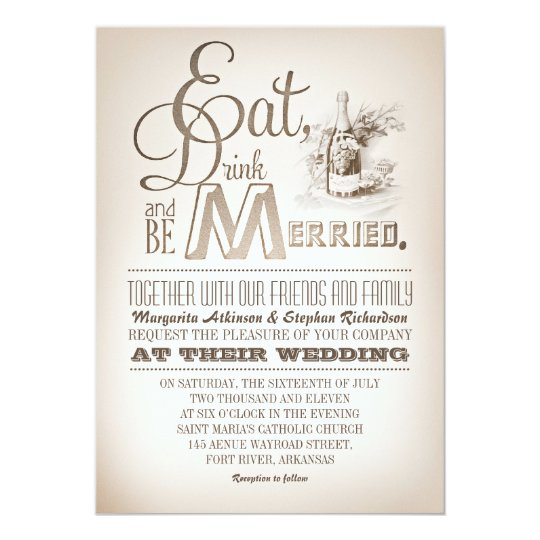 eat drink and be married vintage wedding invites