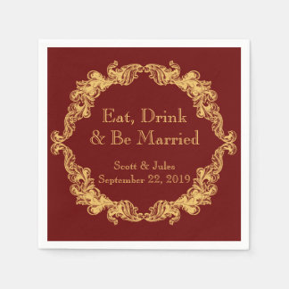 Eat, Drink and Be Married Vintage Wedding Napkins Disposable Napkins