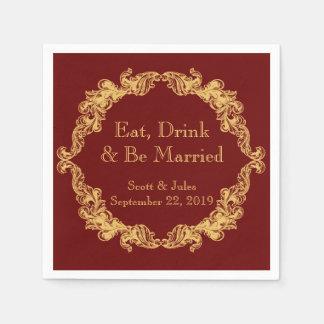 Eat, Drink and Be Married Vintage Wedding Napkins Disposable Serviette
