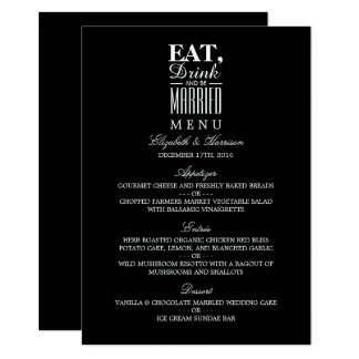 Eat, Drink and be Married Wedding Menu 11 Cm X 16 Cm Invitation Card
