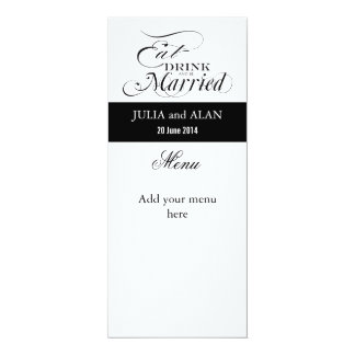 Eat, Drink, and Be Married Wedding Menu Cards 10 Cm X 24 Cm Invitation Card