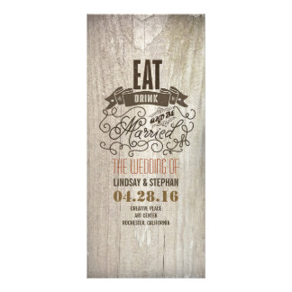 Eat drink and be married wedding programs rack cards