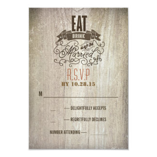 Eat drink and be married wedding RSVP cards 9 Cm X 13 Cm Invitation Card