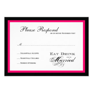 Eat Drink and be Married Wedding rsvp Custom Invitations