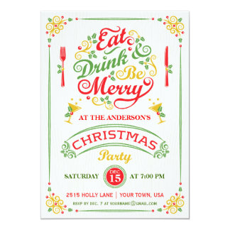 Eat, Drink, and Be Merry Christmas Party III 13 Cm X 18 Cm Invitation Card