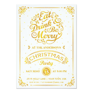 Eat, Drink, and Be Merry Christmas Party in Gold 13 Cm X 18 Cm Invitation Card