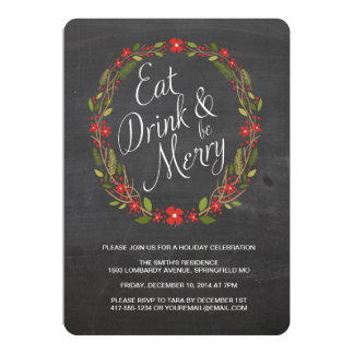 Eat, Drink and Be Merry Christmas Party Invitation