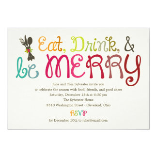 Eat Drink and Be Merry Holiday Party Invitation