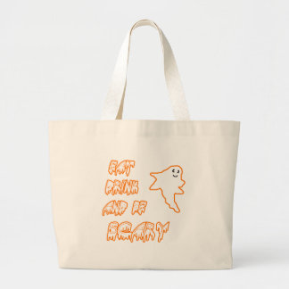Eat Drink and Be Scary Cute Ghost Design Jumbo Tote Bag