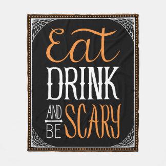 Eat Drink and be Scary Decorative Halloween Design Fleece Blanket