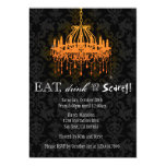 Eat Drink and Be Scary Elegant Damask Chandelier 13 Cm X 18 Cm Invitation Card