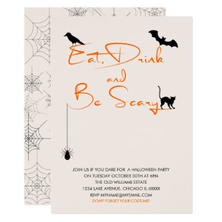 Eat Drink and Be Scary Halloween Party Card