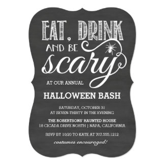 Eat, Drink and Be Scary Halloween Party Chalkboard Card