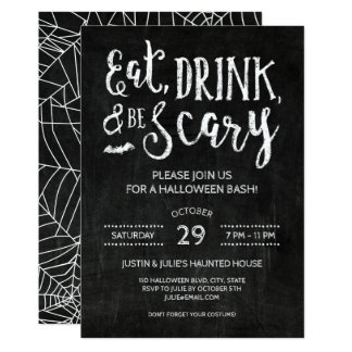 Eat Drink and Be Scary Halloween Party Invitation