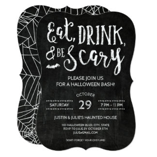 Eat Drink and Be Scary Halloween Party Invites