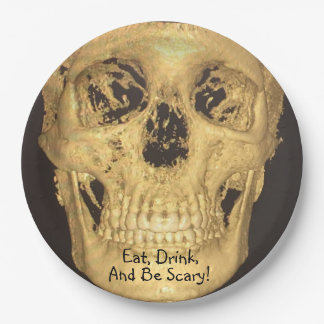 Eat, Drink, And Be Scary Skull 9 Inch Paper Plate