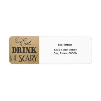 Eat Drink and be scary vintage Halloween label Return Address Label