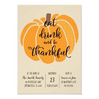 Eat, drink and be thankful-Thanksgiving Dinner Card