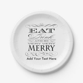 Eat Drink and Be Very Very Merry Funny Paper Plate
