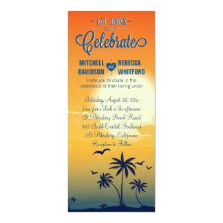 Eat Drink and Celebrate Summer Sunset Wedding 10 Cm X 24 Cm Invitation Card