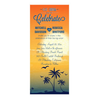 Eat Drink and Celebrate Summer Sunset Wedding Personalized Announcement