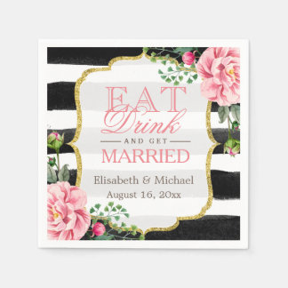Eat Drink and Get Married Elegant Floral Stripes Disposable Napkin