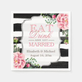 Eat Drink and Get Married Pink Floral Stripes Disposable Serviettes