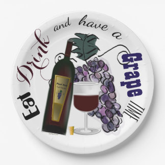 Eat Drink and Have a Grape Time 9 Inch Paper Plate