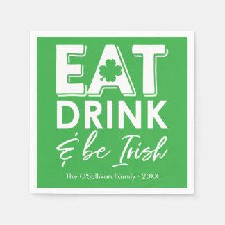 Eat, Drink & Be Irish Modern St. Patrick's Day Paper Napkin