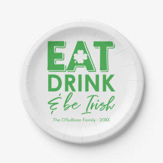 Eat, Drink & Be Irish Modern St. Patrick's Day Paper Plate