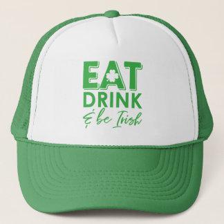 Eat, Drink & Be Irish Shamrock St. Patrick's Day Trucker Hat