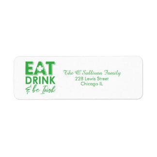 Eat, Drink & Be Irish Typography St. Patrick's Day Return Address Label