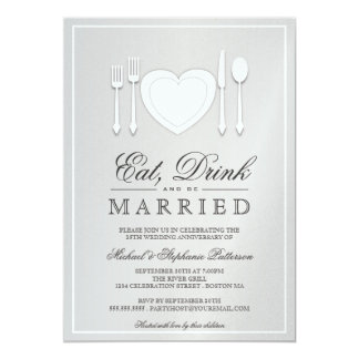Eat Drink & Be Married 25th Anniversary Invitation