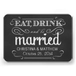 Eat Drink be Married Chalkboard Rounded RSVP