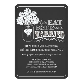 Eat, Drink & Be Married Chalkboard Style Wedding 13 Cm X 18 Cm Invitation Card