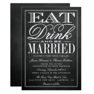 Eat, Drink & Be Married Chalkboard Wedding 13 Cm X 18 Cm Invitation Card
