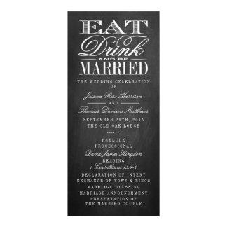 Eat, Drink & Be Married Chalkboard Wedding Rack Card Design