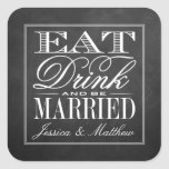 Eat, Drink & Be Married Chalkboard Wedding Square Sticker