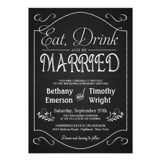 Eat Drink Be Married Fancy Chalkboard Invitations